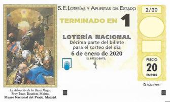 Décimo para el sorteo extraordinario del Niño 2020 terminado en 1 de la Administración Nº2 de Lotería de Soria.