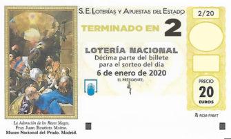 Décimo para el sorteo extraordinario del Niño 2020 terminado en 2 de la Administración Nº2 de Lotería de Soria.