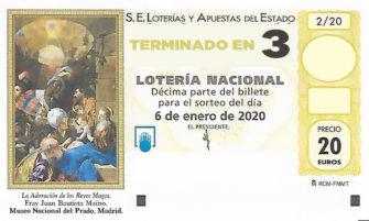 Décimo para el sorteo extraordinario del Niño 2020 terminado en 3 de la Administración Nº2 de Lotería de Soria.