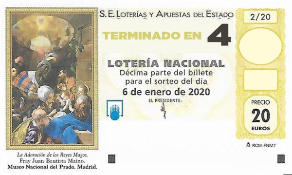 Décimo para el sorteo extraordinario del Niño 2020 terminado en 4 de la Administración Nº2 de Lotería de Soria.