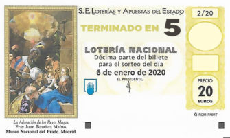 Décimo para el sorteo extraordinario del Niño 2020 terminado en 5 de la Administración Nº2 de Lotería de Soria.