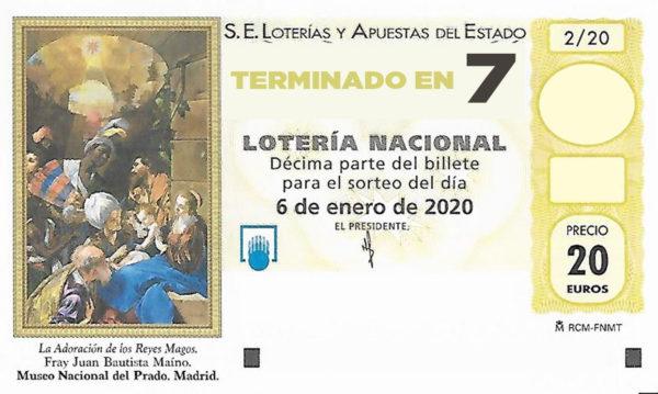 Décimo para el sorteo extraordinario del Niño 2020 terminado en 7 de la Administración Nº2 de Lotería de Soria.