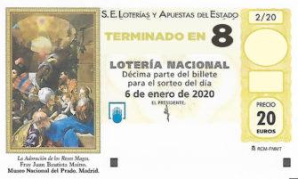 Décimo para el sorteo extraordinario del Niño 2020 terminado en 8 de la Administración Nº2 de Lotería de Soria.
