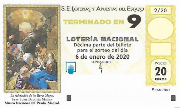 Décimo para el sorteo extraordinario del Niño 2020 terminado en 9 de la Administración Nº2 de Lotería de Soria.